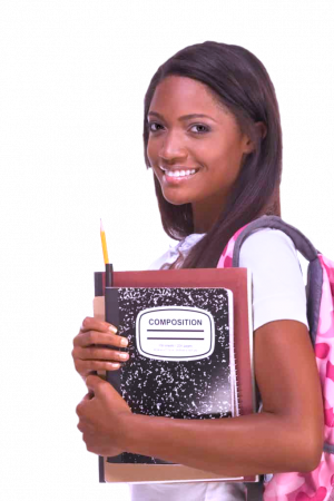 Student holding a composition notebook