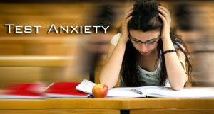 anxious student studying