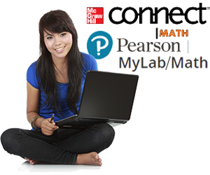 Girl with laptop with Pearson and McGraw-Hill logos