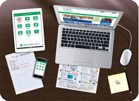 Desktop with technology devices