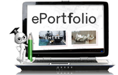 Laptop with small figure on it and eportfolio on screen
