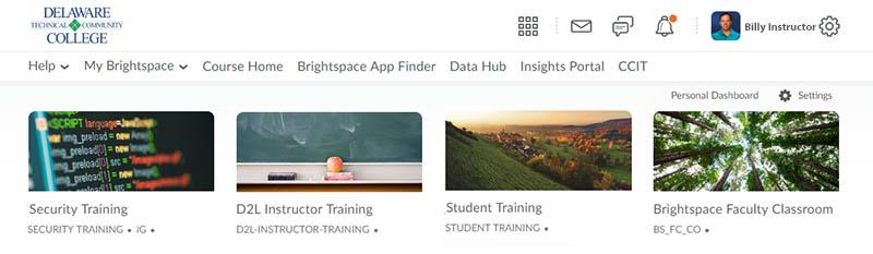 D2L Courses Home Page