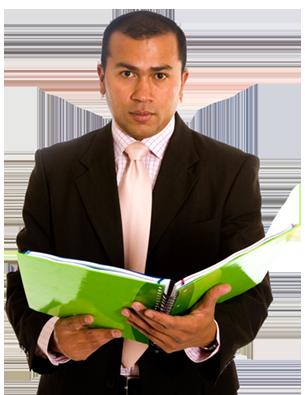 Male instructor holding binder