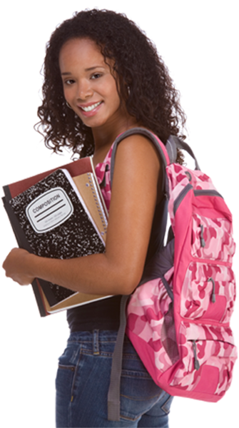 Female student with backpack