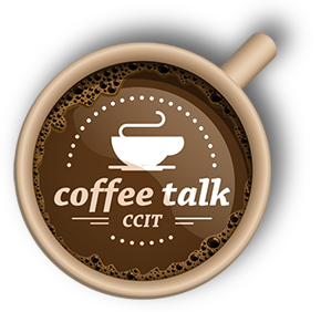 Top of coffee cup with Coffee Talk logo on top