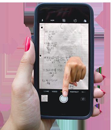 female hand holding phone